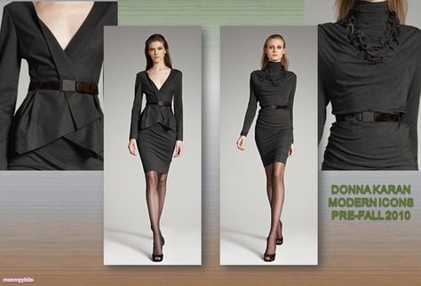 The blazer and skirt on the left are classic shapes that will be chic for years to come. Definite essential.