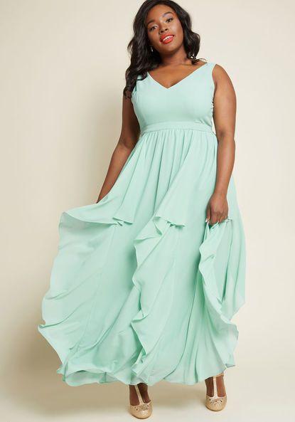 ModCloth As Ruffles Ripple Maxi Dress in seafoam sage mint ...