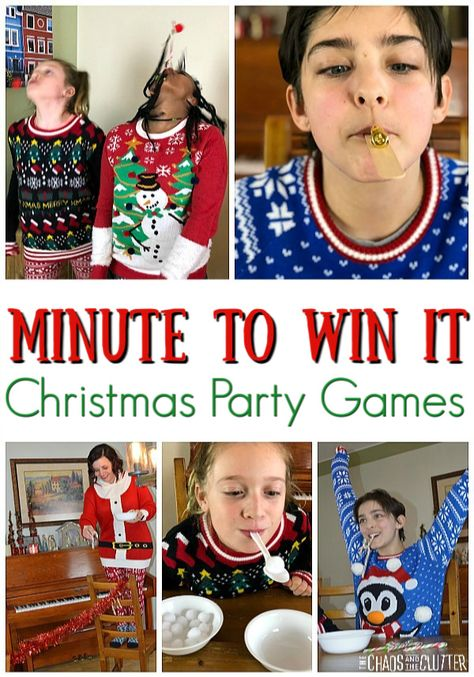 christmas games Play Minute to Win It games great for all ages. So much Christmas fun! Easy to set up and play at holiday gatherings for work, family, friends, or church groups. Minute To Win It Games Christmas, Fun Christmas Party Games, Xmas Games, Christmas Games For Family, Holiday Games, Kids Party Games, Christmas Fun, Holiday Fun, Minute To Win It Games For Adults