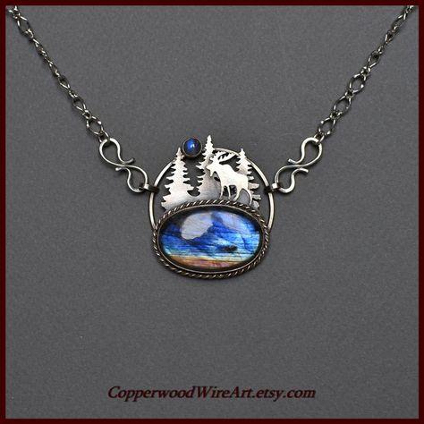 Artisan Rainbow Moonstone Lunar Hoop Suspension Necklace Protective Crystal Amulet Sterling Silver
