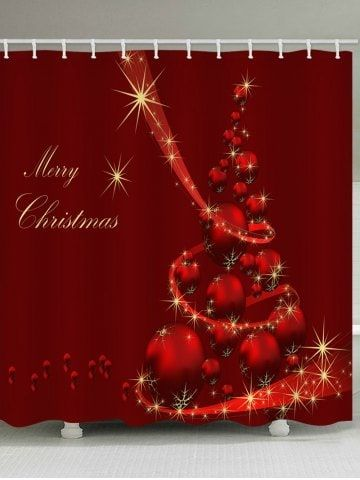 Terrific Merry Christmas Ball Print Waterproof Bathroom Curtain Red Download Free Architecture Designs Xerocsunscenecom