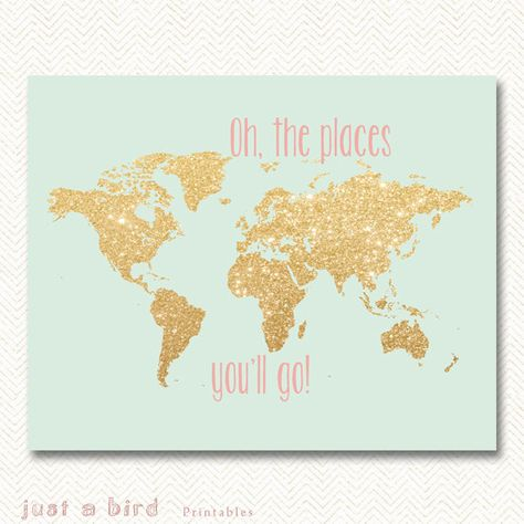 Oh the places you'll go gold glitter nursery decor, printable world map, gold map decor, mint green gold nursery.