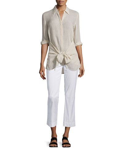 7a7bee6491 -6KG9 Theory Avla New Chino Slim-Fit Pants Zallane Tie-Front Soft Linen Top