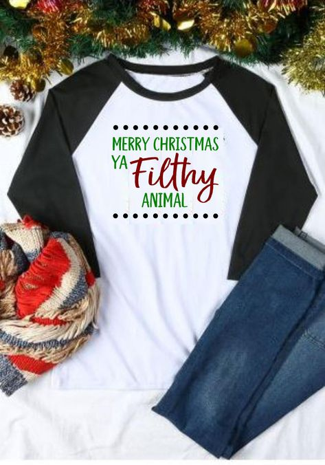 be1a5ee3 Merry Christmas ya filthy animal! Wear your favorite Christmas saying in  style! Get it on a tee, long sleeve tee, or a raglan!