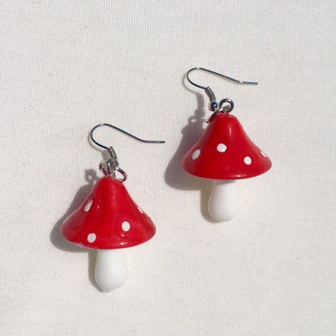 precious mushroom earrings sucha cute statement piece handmade w luv :) brand new, never worn & really lightweight great for sensitive ears ! Funky Earrings, Diy Earrings, Earrings Handmade, Handmade Jewelry, Weird Jewelry, Funky Jewelry, Cute Jewelry, Jewlery, Clay Crafts