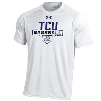 Tcu Horned Frogs Under Armour Home Plate Baseball T Shirt White Sale Up To 75 Off Shop At Stylizio F School Shirt Designs Tech T Shirts Baseball Tshirts