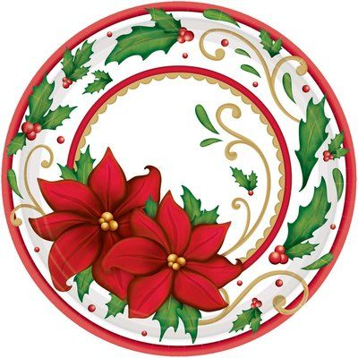 Amscan Christmas Paper Dessert Plate With Images Christmas