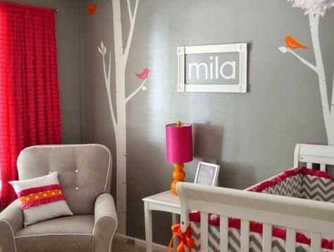 De Haute Qualite Déco De La Chambre Bébé Fille En Gris, Blanc Et Orange