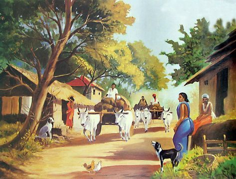 Indian Village Scene In 2020 Village Scene Drawing Village