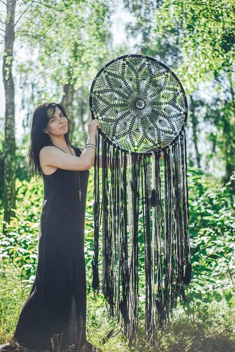 Dream catcher wall hanging, black, crochet, mandala, large dreamcatcher, wall art, bohemian, gift fo