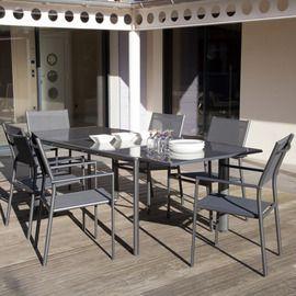 Salon de jardin : table Messina 160/230 cm + 6 fauteuils ...