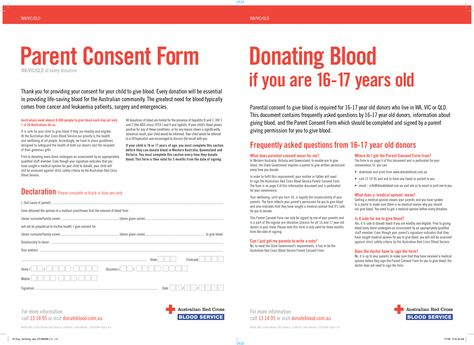 Parent consent form for blood donation in Australia for Red Cross - parental consent form