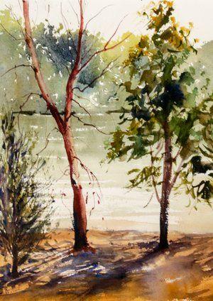 Australian Watercolor Landscape Painting Distant Hill Watercolor