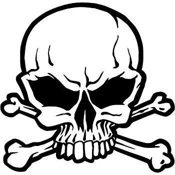 Evil Skull and Crossbones Decal Choose Color V and T Gifts