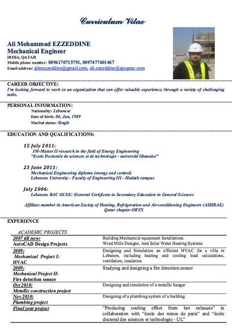 Mechanical Engineer Resume for Fresher ~ Resume Formats Resume - mechanical engineering resume templates
