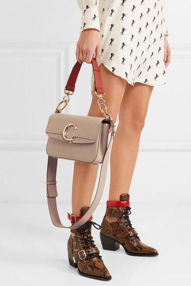 a7609a7b Chloé - Chloé C small suede-trimmed leather shoulder bag | Bag B*tch ...
