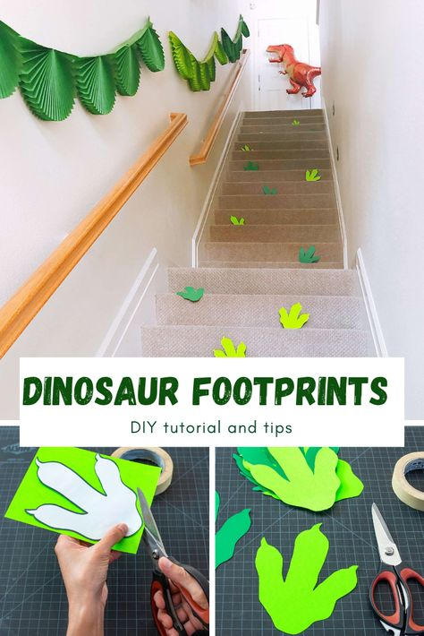 DIY Dinosaur Footprints Party Decoration Ideas - - A super easy and fun DIY project for a dinosaur party decorations. Add these dinosaur footprints to your next dinosaur party and excite the dino-loving kids! Jurassic Park Party, Park Birthday, Boy Birthday Parties, Boy Theme Party, Third Birthday, Birthday Diy, Dinosaur Birthday Cakes, Diy Party Decorations, Diy Dinosaur Party Decorations