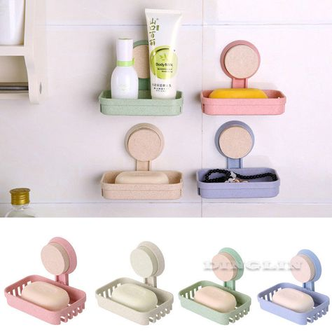 Suction Cup Soap Dish Box Bathroom Wall Mounted Holder Toilet Shower Tray