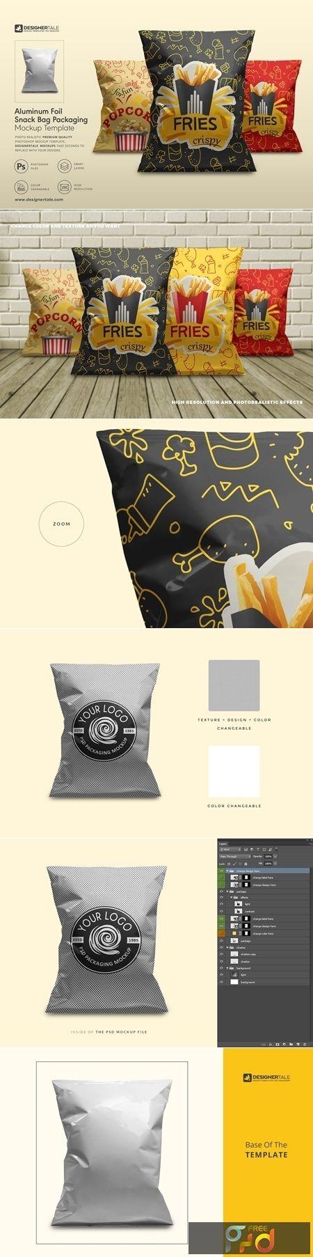 Download Foil Snack Bag Packaging Mockup 4151690 Freepsdvn Packaging Mockup Bag Packaging Free Logo