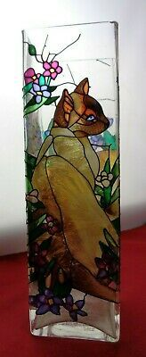 Joan Baker Hand Painted Stained Glass Vase or Candle Holder w/ Cat Design