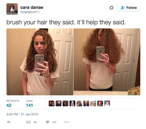 Ok so for all those people who have straight hair this is so freking accurate it's not even funny. I have curly hair and when you brush it, it becomes frizzy just like that. Curly Hair Problems, Natural Hair Problems, Fangirl, Funny Relatable Memes, Funny Tweets, Hilarious Memes, Curly Hair Styles, Curly Hair Care, Frizzy Hair Meme