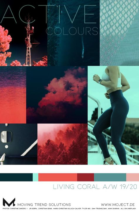 Mood board with living Coral , 16-1546 TPX, the pantone colour of the year 2019, can be easily combined with many colours, no matter if summer or winter. Together with bluish green tones, a colour card is created that is suitable for fitness apparel, athleisure or outdoors as well. A splash of Neo Mint, named Colour of the Year 2020 by WGSN, provides the energy kick and freshness that a colour forecast for active wear A/W 19/20 needs.#livingcoral #moodboard #AW1920 #pantone #coloroftheyear