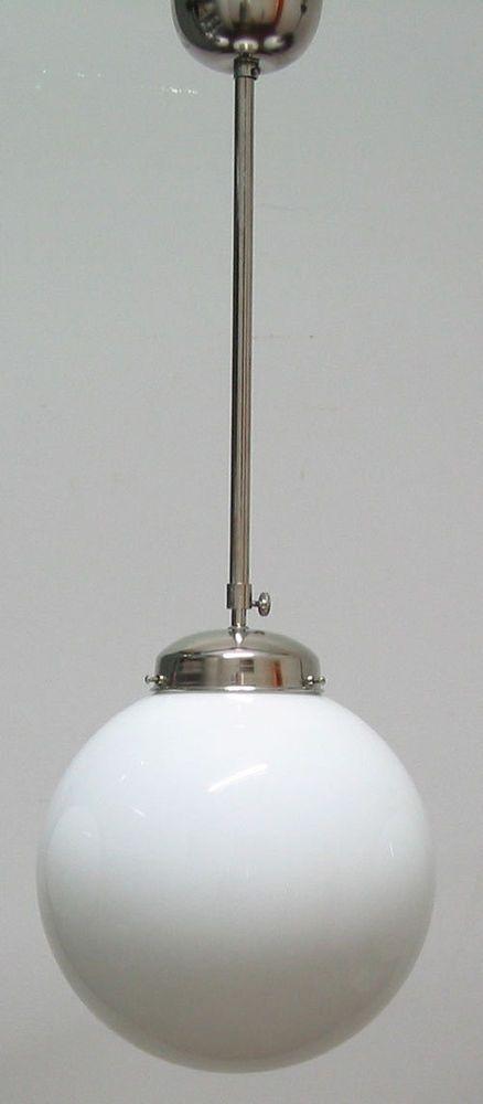 Deckenleuchte Bauhaus Messing Opalglas Kugel 30cm Neu Art Deco