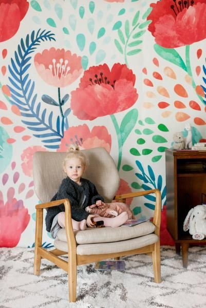 Crimson Poppy Mural S Bedroom Decor Home Ideas House Room Toddler Baby Shared