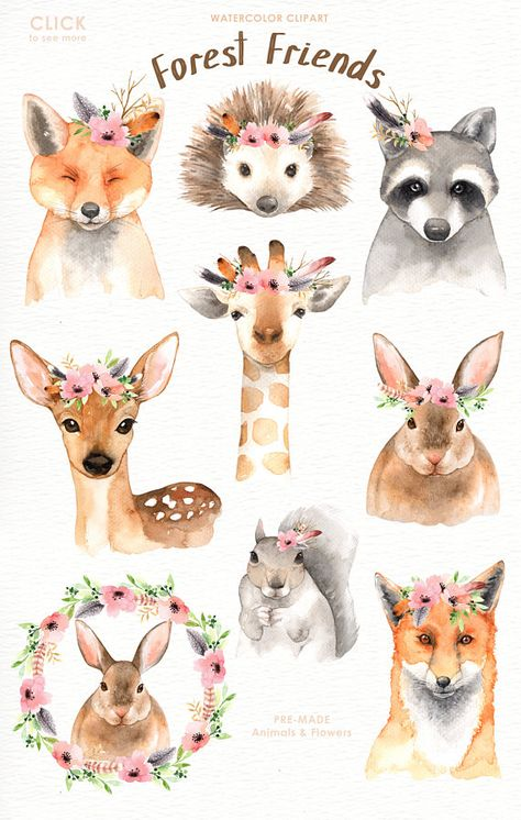 The set of high quality hand painted watercolor woodland animals and flowers images. A giraffe, deer, foxs, raccoon and other animal illustrations are included in this set. Included 11 beautiful bouquets and wreaths arrangements. Perfect for wedding invitations, greeting cards, quotes,