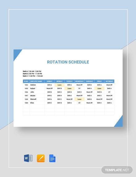 Rotation Rotating Schedule Schedule Templates Templates