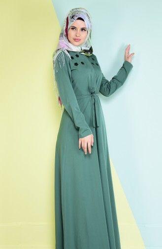 Sefamerve Sefamerve Pul Detayli Elbise 4086 01 Cagla Yesil Elbise Elbise Modelleri Moda Stilleri