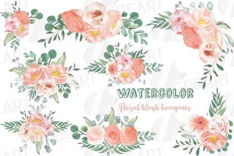 Watercolor blush wedding bouquets, floral bouquets clip art (274982)   Illustrations   Design Bundles
