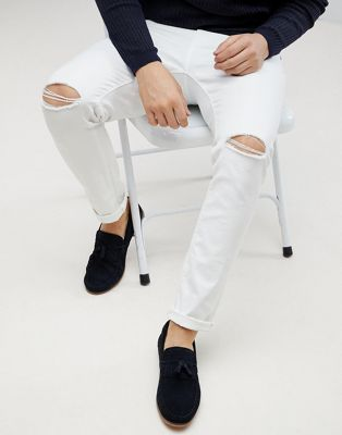 55e8a7181 DESIGN skinny jeans in white with knee rips | SWAG | Super skinny ...