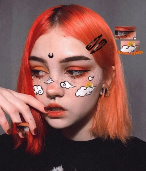 Edgy Makeup, Eye Makeup Art, Crazy Makeup, Makeup Inspo, Makeup Inspiration, Makeup Ideas, Cute Makeup Looks, Pretty Makeup, Anime Make-up