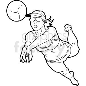 Black And White Girl Volleyball Player Vector Clipart In 2020 Black And White Girl White Girls Clip Art
