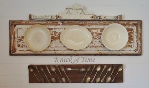 Gorgeous old Ironstone Plates and Tarnished Silverware make Unique Wall Art!  ~viaKnickofTimeInteriors.blogspot.com
