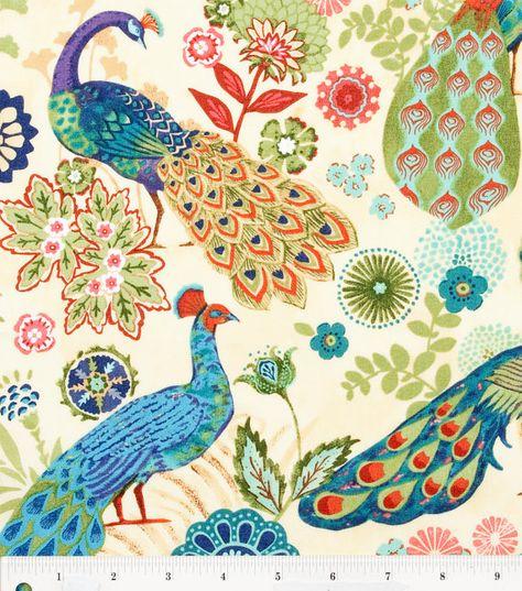 Peacock Fabric Bird Fabric Animal by EllensHomeAndVintage on Etsy