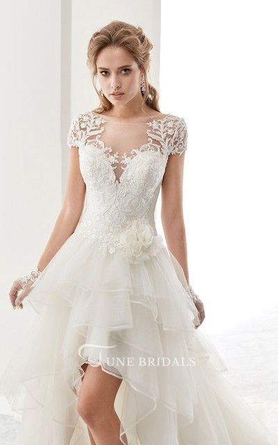 Illusion Jewel Neck High Low Bridal Gown With Ruffles And T Shirt Sleeves Junebridals Hi Lo Wedding Dress Wedding Dresses High Low Wedding Dresses Lace