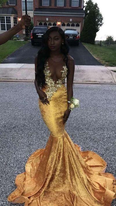 yellow prom dresses on dark skin