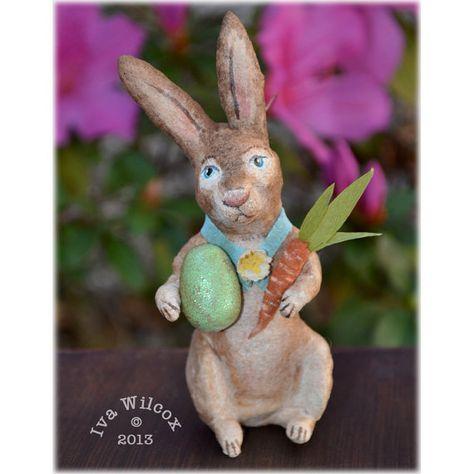 Spun Cotton Bunny Rabbit Easter Folk Art by ivascreations on Etsy