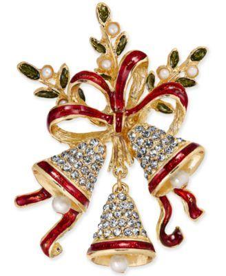 Charter Club Holiday Lane CHRISTMAS CANDY CANE Crystal Glitter PIN Brooch Xmas
