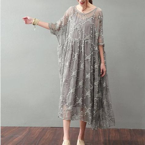 Lacing Women Silk Loose Casual Gray Dress Source by grueneAnne