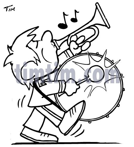 Marching Band Bass Drum Snare Sketch Clipart