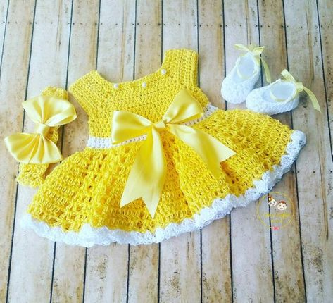 SALE! Crochet Baby Dress, Cotton Crochet Baby Outfit, Yellow Baby Dress, Coming Home Outfit,Baby Sho