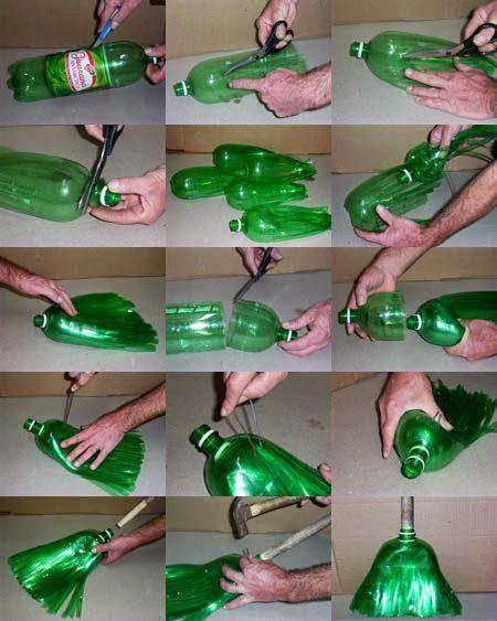 ARTE COM QUIANE - Paps e Moldes de Artesanato : Como faz vassoura de garrafa PET #artecomquiane #reciclagem #diy #vasoura