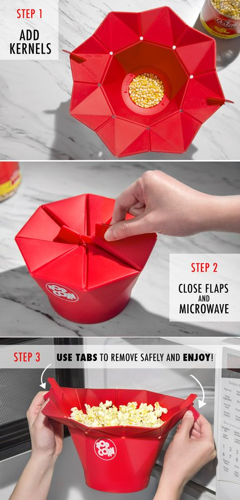 Just add kernels, close the flaps, microwave, and use the tabs to safely remove and enjoy!