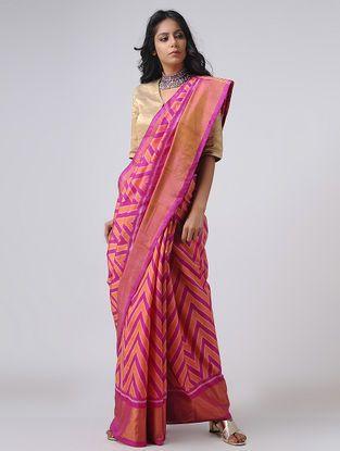 2ecd7f2db5c36 Purple-Red Patola Silk Saree with Zari