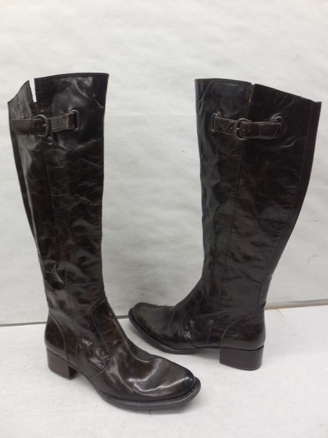 ac21e30ef25 New Born Crown Womens Sosie Brown Leather Buckle Tall Knee High Riding Boots  6.5  BornCrown  RidingEquestrian