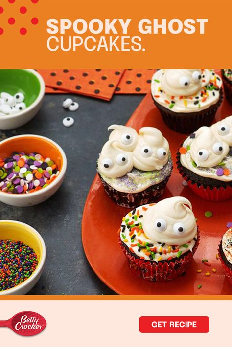 Sometimes cute is better than terrifying on Halloween, and these Spooky Ghost Cupcakes take the cake! They're spookily easy to make with Betty Crocker cake mix and frosting. Make a yummy mess, and add fun sprinkles and goofy candy eyeballs to turn up the fright. Call the kids, grab all the decorations and make your home an irresistible ghost house. If they don't turn out perfect, they're perfect!