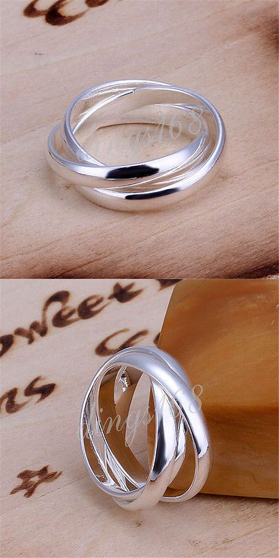 925 Sterling Silver Hypo-Allergenic Triple Flexible Rolling 10mm Band Ring H666